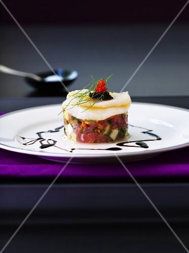 Tuna tartare with scallop ceviche and caviar