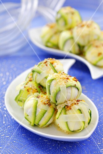 Cheese balls wrapped in courgette