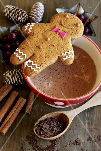 Gingerbread man on cup of cocoa (Christmas)