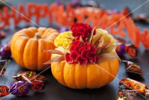 Kürbis, Bonbons und Schrift-Girlande zu Halloween