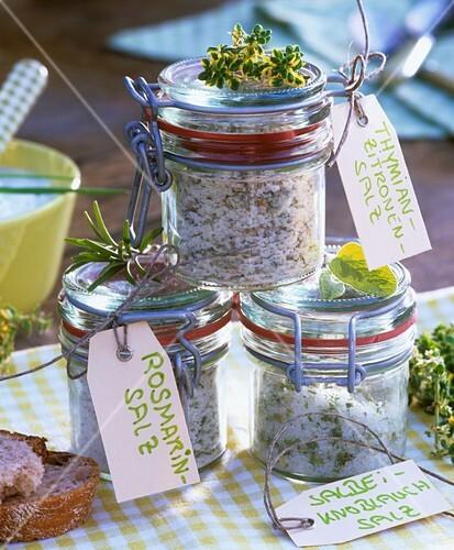 Sage and garlic salt, rosemary salt, thyme and lemon salt