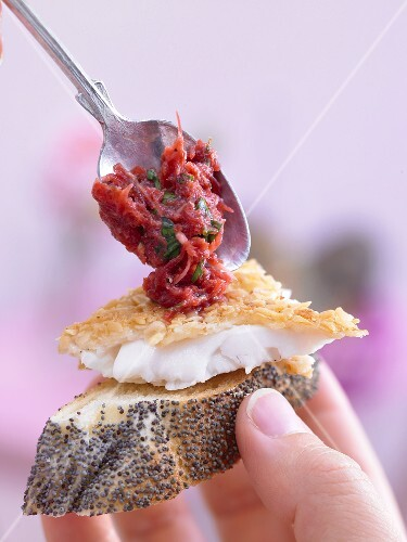 Plaice fillet & beetroot relish on slice of poppy seed plait
