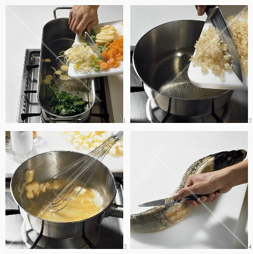 Hecht mit Buttersauce und Gemüse zubereiten