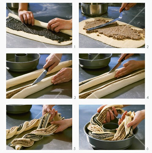 Making a poppy seed and nut ring with yeast dough