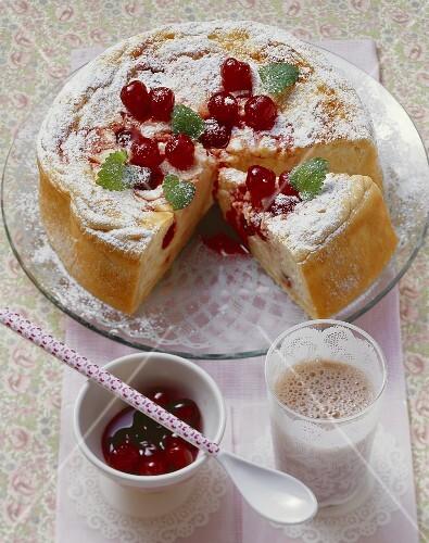 Amarena cherry cake made with rice pudding and quark