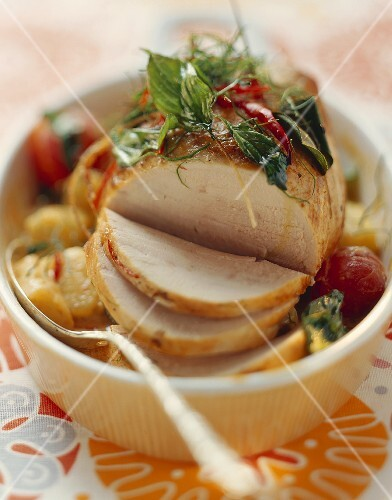 Thai roast turkey joint with pineapple and tomatoes