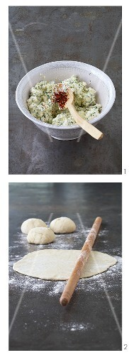 Making flatbread with sheep's cheese (Turkey)