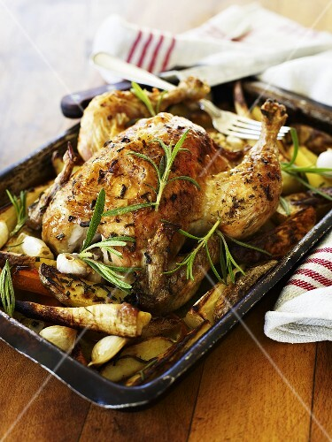 Rosemary chicken on root vegetables