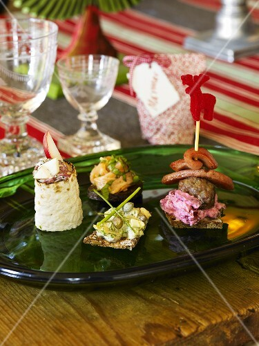 Assorted savoury appetisers for Christmas