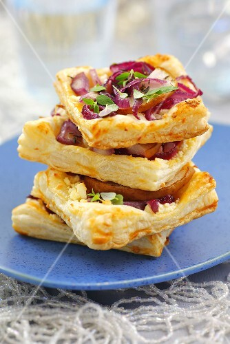 Onion, pear and feta puff pastry tarts with thyme