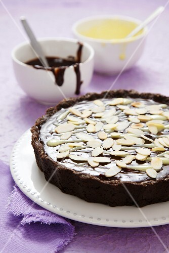 Chocolate tart with flaked almonds