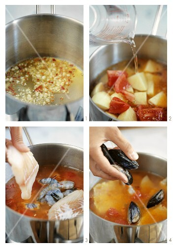Making Italian fish soup