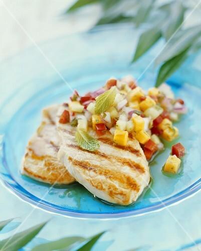 Veal escalopes with tropical salsa
