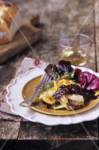 Reblochon cheese on toast with salad