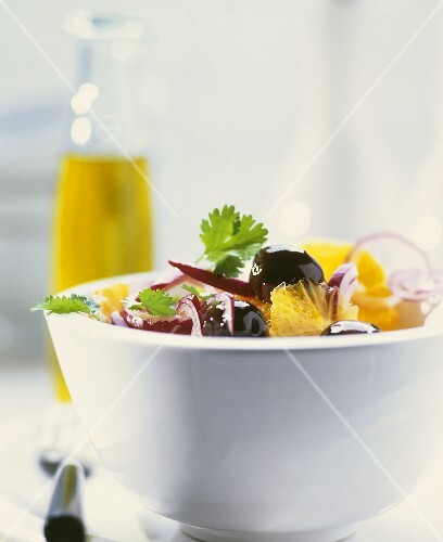 Salad with olives and oranges
