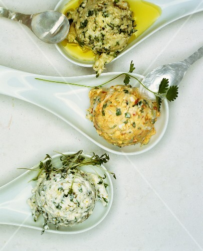 Soft cheese balls coated in herbs
