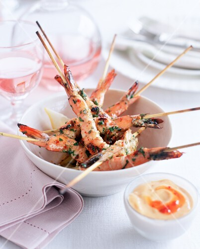 Grilled prawn kebabs with chilli aioli