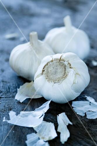 Three Whole Garlic Bulbs, Close Up