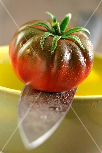A beefsteak tomato on a sharp knife