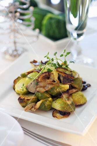 Roasted Brussels sprouts with mushrooms and onions