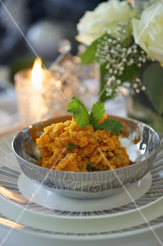 Mashed sweet potatoes with coriander for Christmas dinner