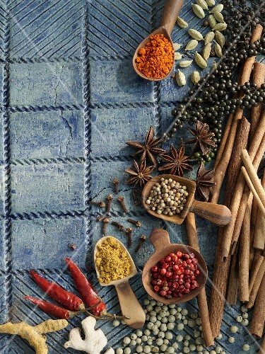 Still life with various exotic spices