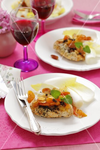 Chicken breast with dried fruit and chicory leaves