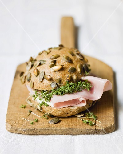 Boiled ham and cress in pumpkin seed roll