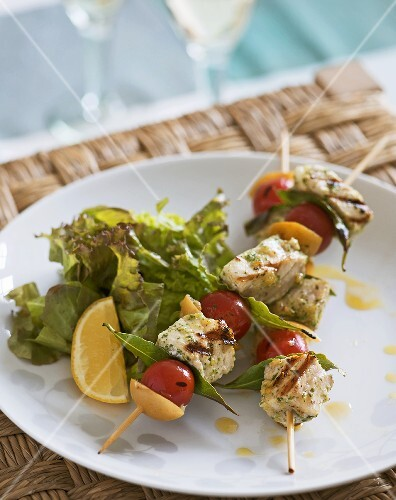 Grilled swordfish and tomato skewers