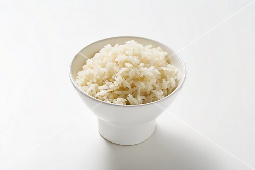A bowl of rice cooked by the absorption method