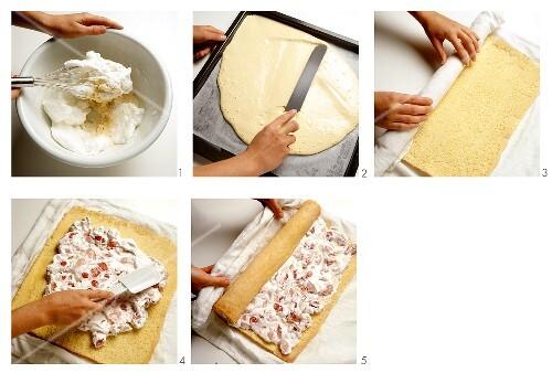 Biskuitroulade mit Erdbeersahne zubereiten