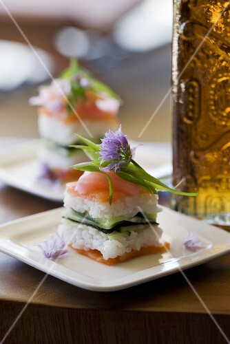 Salmon sushi with chive flower