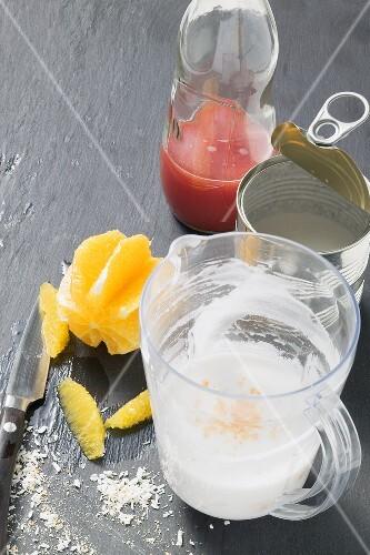Naranja Colada (Non-alcoholic drink made with coconut milk & orange)