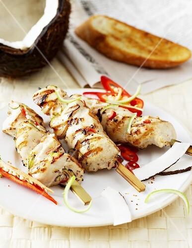 Chicken breast in spicy coconut marinade