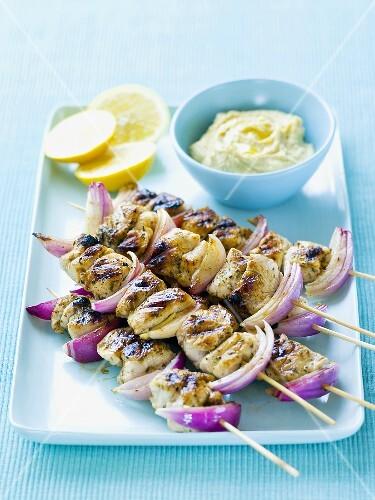 Chicken kebabs with lemon dip