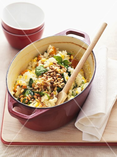 Baked pumpkin and sweetcorn risotto