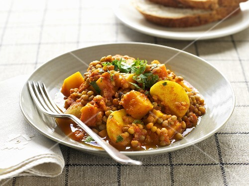 Lentil and potato curry