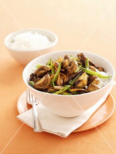 Mushroom and chilli stir-fry