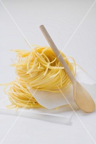 Tagliatelle with wooden spoon