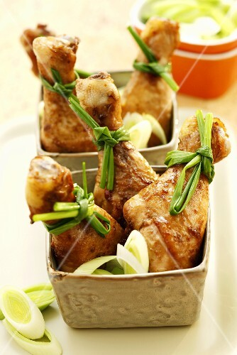 Baked chicken legs glazed with soy sauce