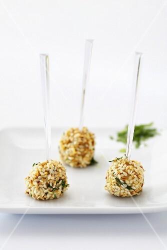 Goose liver balls with sesame seeds