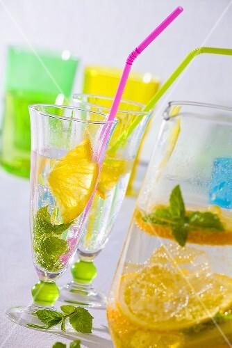 Lemonade with orange and lemon slices