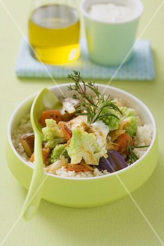 Ratatouille with romanesco broccoli on couscous