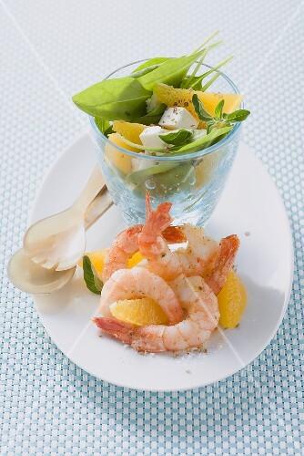 Greek shrimp and spinach salad
