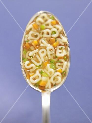 Alphabet soup in spoon