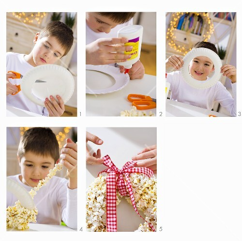 Boy making a popcorn wreath
