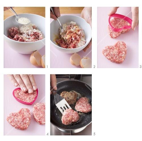 Making heart-shaped burgers