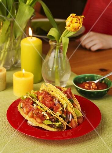 Tacos and tomato salsa (Mexico)