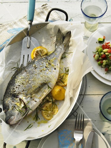 Roasted sea bream with lemon and rosemary