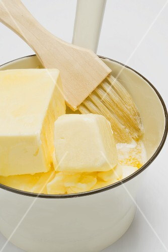 Melting butter and pastry brush in a pan